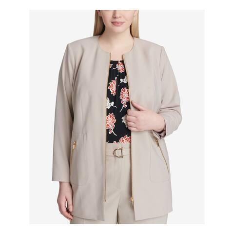 CALVIN KLEIN Womens Beige Topper Jacket Plus Size: 24W
