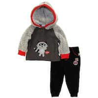 Duck Goose Baby Boys Raccoon Sherpa Microfleece Hooded Cardigan Jacket Pant Set