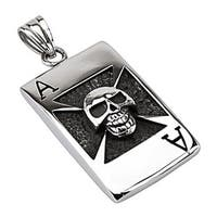 Stainless Steel Skull Ace Over Ingraved Celtic Cross Pendant (26.5 mm Width)