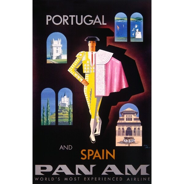 Pan Am - Portugal and Spain Carlu Vintage Ad (Light Switchplate Cover)