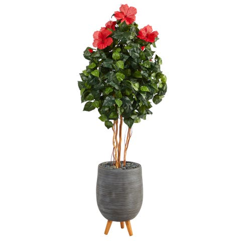 """58"""" Hibiscus Artificial Tree in Gray Planter with Stand - 18.5"""""""