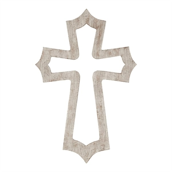 """15.75"""" Gray and Natural Brown Cross Shaped Names of Jesus Wall Decor - N/A"""