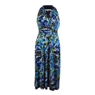 Evan Picone Women's Floral Halter Racerback Jersey Dress - 8