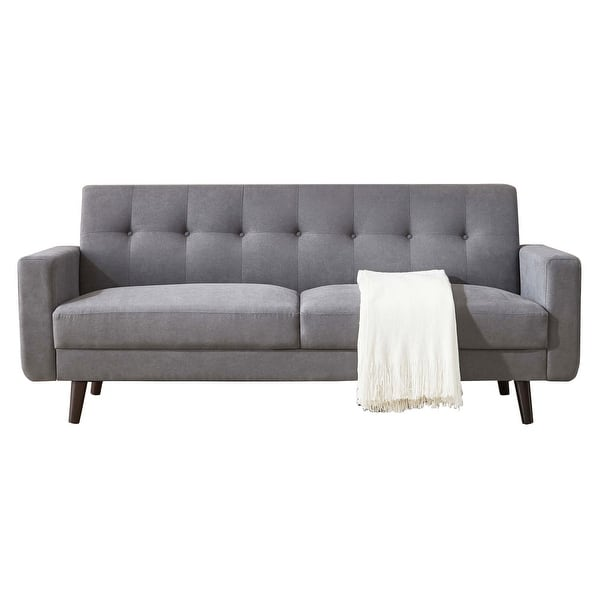 Art Leon Tufted Back Fabric Couch Sofa With Solid Wood Overstock 32454161