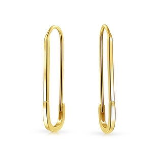 Bling Jewelry Gold Plated .925 Silver Safety Pin Threader Earrings