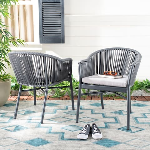 """Safavieh Outdoor Living Stefano Rope Chair - Grey (Set of 2) - 22.4""""x25.2""""x30"""""""