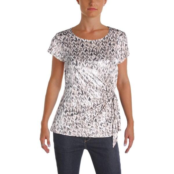 19e64e6a06dce Shop MSK Womens Blouse Metallic Short Sleeve - Free Shipping On ...