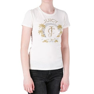 Juicy Couture Black Label Womens Logo Palms Glitter Foiled T-Shirt - XS
