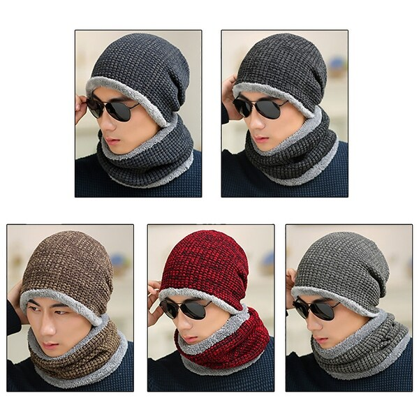becce51de95 Man Fashion Winter Warm Acrylic Knitted Comfort Outdoor Hat Circle Scarf  Gift