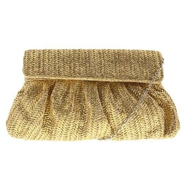 Jessica McClintock Womens Straw Metallic Clutch Handbag - natural/metallic - Small
