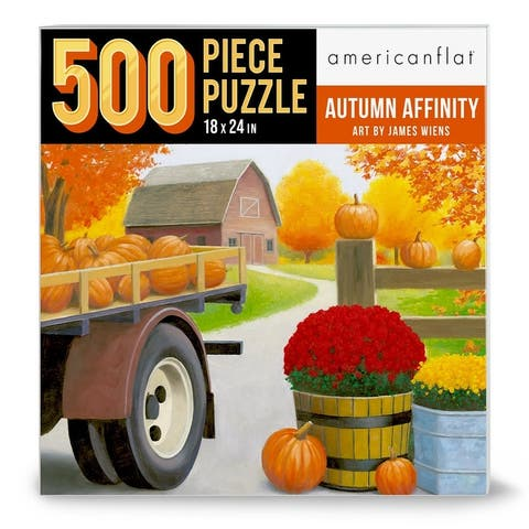 """Americanflat 500 Piece Jigsaw Puzzle, 18x24 Inches, """"Autumn Affinity I"""" Artwork by Wild Apple"""