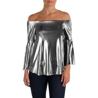Aqua Womens Blouse Metallic Off-the-Shoulder