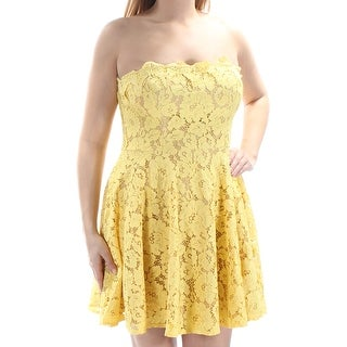 CITY STUDIO $69 Womens New 1407 Yellow Lace Fit + Flare Dress 15 Juniors B+B