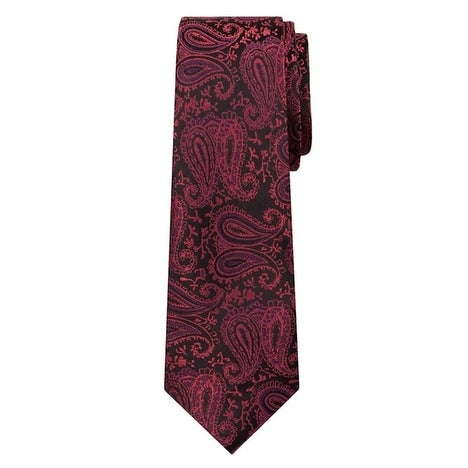 Marquis Men's Burgundy Paisley 3 1/4 Tie & Hanky Set TH100-002 - regular