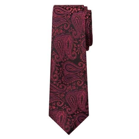 Marquis Men's Fuchsia & Black Paisley 3 1/4 Tie & Hanky Set TH100-002 - Regular