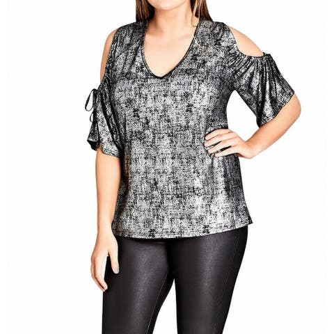 City Chic Silver Womens Size 20W Plus Cold-Shoulder Shimmer Blouse