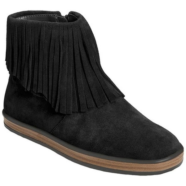 Aerosoles Women's Good Fun Fringe Bootie Black Suede
