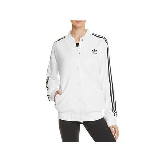 Adidas Womens Athletic Jacket Snap Front 3 Stripe (2 options available)
