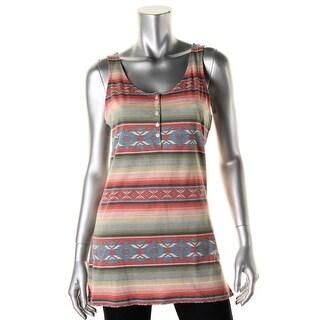 LRL Lauren Jeans Co. Womens Pattern Scoop Neck Tank Top - L