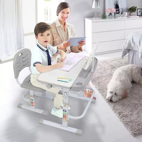 Lifting Table Children Learning Desk And Chair Gray With Reading Stand