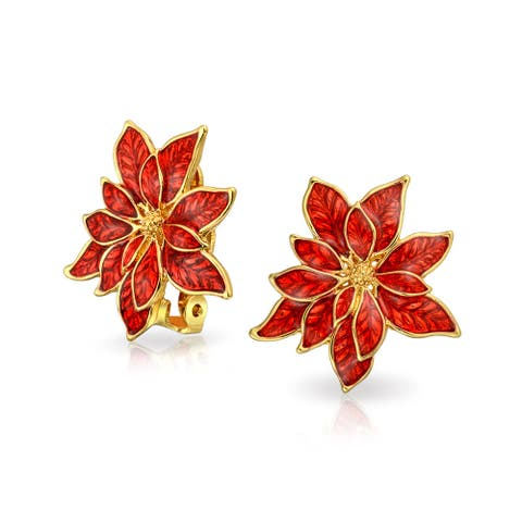 Poinsettia Flower Shape Christmas Holiday Red Enamel Clip On Earrings Non Pierced Ears Rose Gold Plated Brass 1 Inch