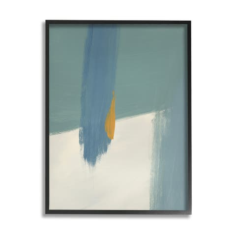 Stupell Industries Abstract Blue Green Brush Strokes On Off-White Framed Wall Art - Grey
