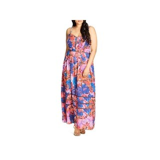 City Chic Womens Plus Casual Dress Full Length Floral Print