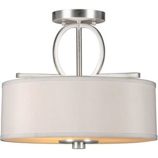 Forte Lighting 2562-03 3 Light Semi-Flush Ceiling Fixture with Fabric Drum Shade