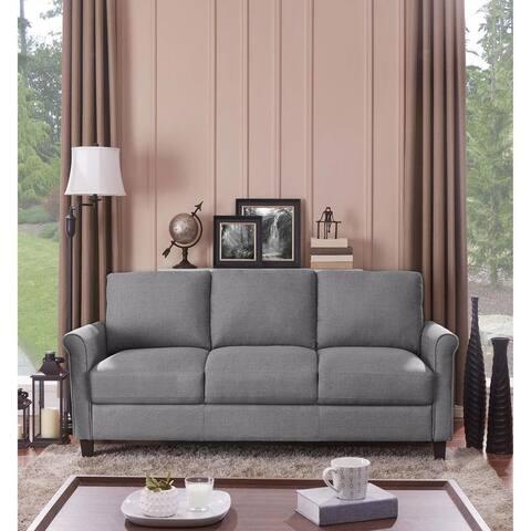 Handy Living Calhan Charcoal GreycTextured Linen Sofa