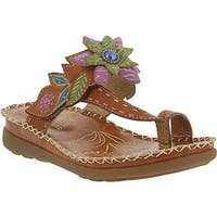 L'Artiste by Spring Step Women's Berry Toe Loop Sandal Camel Leather