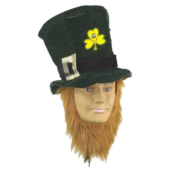 St Patricks Day Irish Costume Hat With Beard - Green