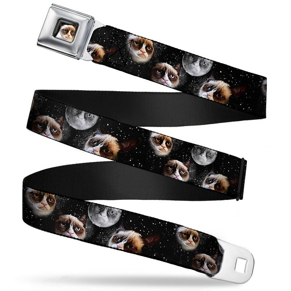 Grumpy Cat Face Full Color Black Grumpy Cat Moons Scattered Webbing Seatbelt Belt