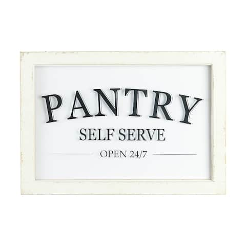 Distressed Wood Framed Pantry Sign - Distressed Cream