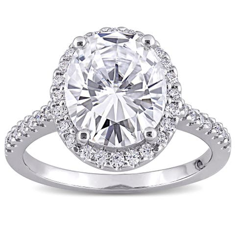 Miadora 4 3/8ct DEW Oval-Cut Moissanite Halo Engagement Ring in 10k White Gold