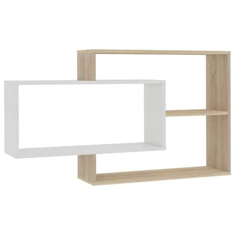 "vidaXL Wall Shelves White and Sonoma Oak 40.9""x9.4""x23.6"" Chipboard"