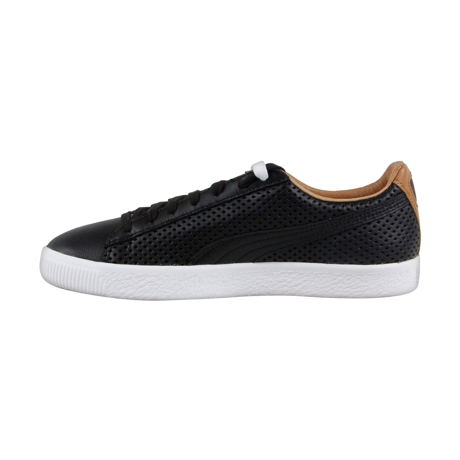 on sale d3bad 09233 Puma Clyde Colorblock 2 Mens Black Leather Lace Up Sneakers Shoes