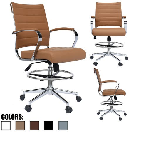Modern Designer Ergonomic Office Drafting Chair With Arms Ribbed Computer Tan