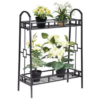 Link to Costway Heavy Duty 2 Tier Metal Flower Pot Rack Plant Display Stand Similar Items in Planters, Hangers & Stands