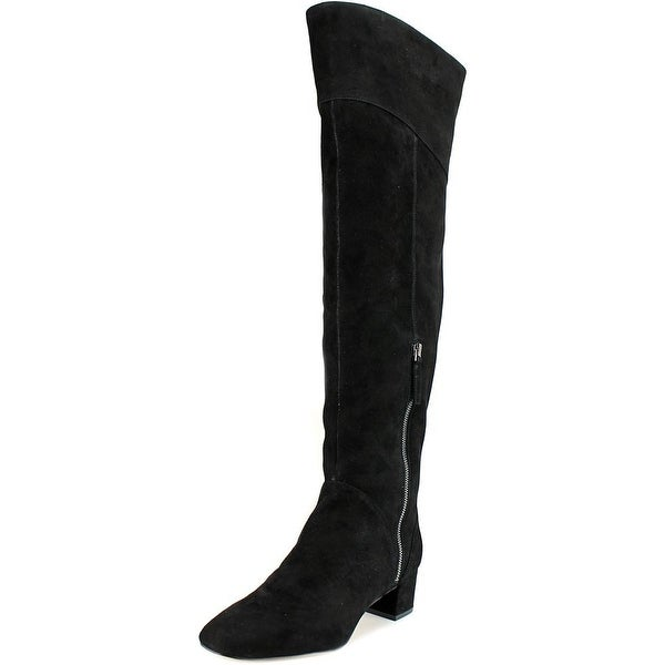 Nine West Anilla Women Round Toe Suede Black Over the Knee Boot