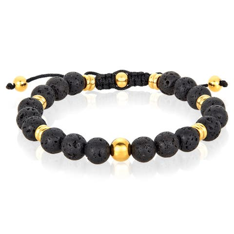 Natural Stone and Stainless Steel Beaded Adjustable Bracelet (8mm)