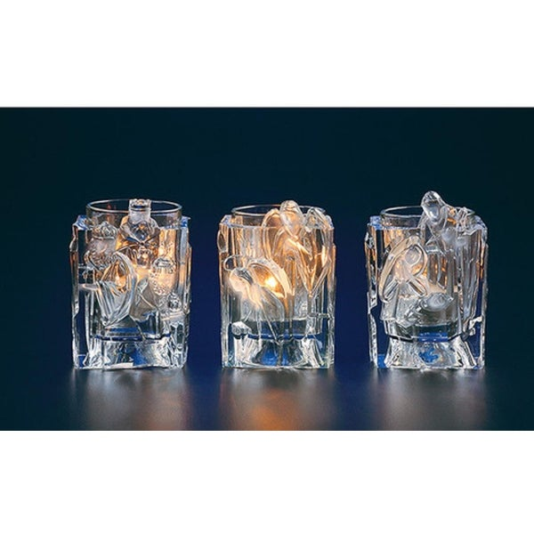 "Club Pack of 12 Icy Crystal Christmas Nativity Votive Candle Holders 3.8"" - CLEAR"
