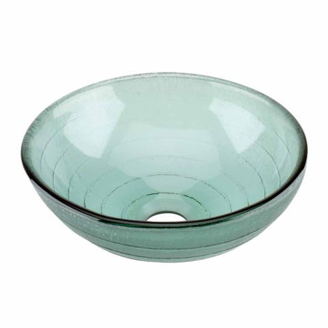 Renovator's Supply Glass Vessel Sink with Drain Frosted Green Tempered Glass Mini Bowl Sink Circle Design