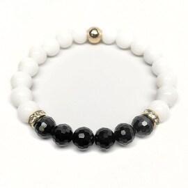 White Jade & Black Crystal 'Glow' stretch bracelet 14k Over Sterling Silver