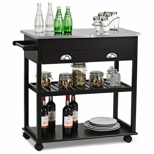 Rolling Kitchen Island Trolley Cart Stainless Steel Flip Tabletop. Opens flyout.