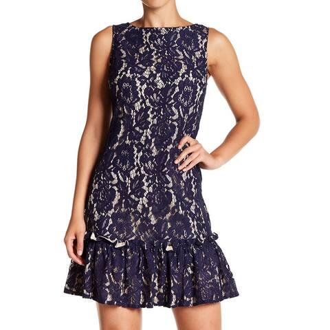 Eliza J Womens Lace Overlay Flounce Hem Shift Dress