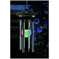 Gardman 6727 Color Changing Crackle Glass Globe Solar Wind Chime With Light