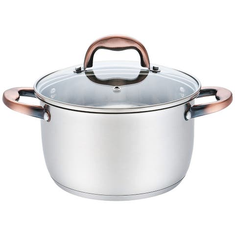Premius Stainless Steel Stock Pot with Glass Lid and Copper Handle, 4 Quart
