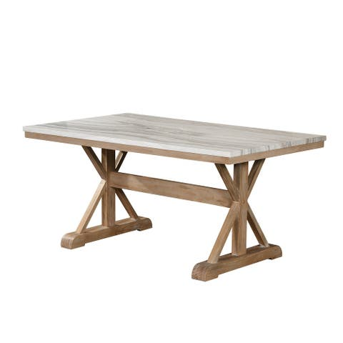 Best Quality Furniture Faux Marble Dining Table Rustic Finish