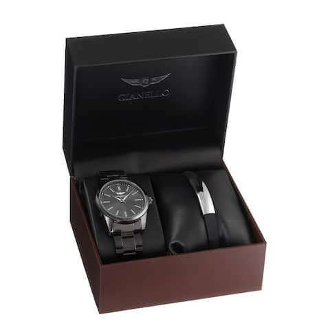 Gianello Mens Link Watch and Bracelet Set