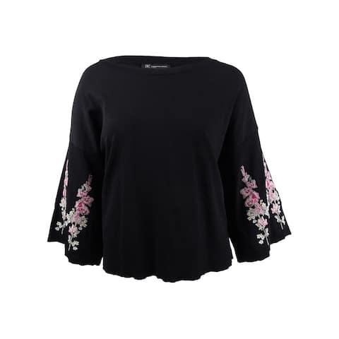 INC International Concepts Women's Embroidered Bell-Sleeve Top (3X, Deep Black) - Deep Black - 3X